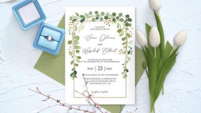 Fairytale Leaves Wedding Invitation Template