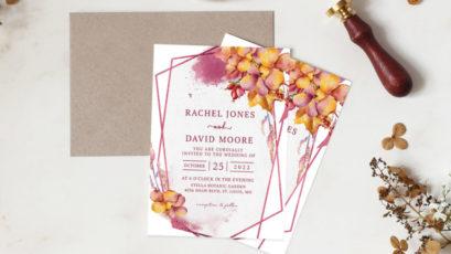 Floral Burgundy Geometric Wedding Invitation