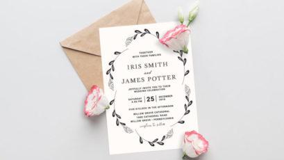 Floral Wreath Leafy Wedding Invitation Template