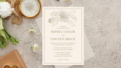 Gilded Formal Floral Wedding Invitation