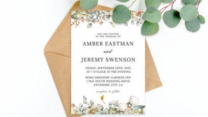 Greenery Wedding Invitation Template V2