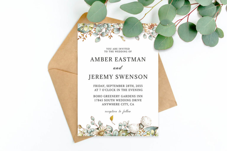 Preview image of Greenery Wedding Invitation Template V2