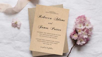 Kraft Rustic Wedding Invitation Template