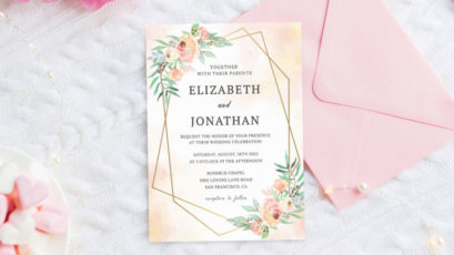 Pink & Greenery Floral Wedding Invitation Template