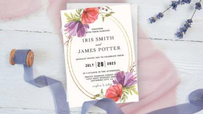 Purple & Red Rose Floral Wedding Invitation