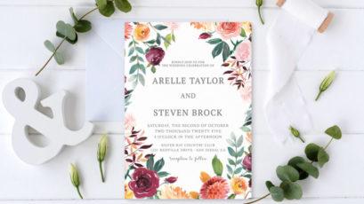 Rustic Bloom Wedding Invitation Template