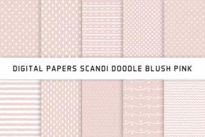 Scandi Doodle Blush Pink Digital Papers