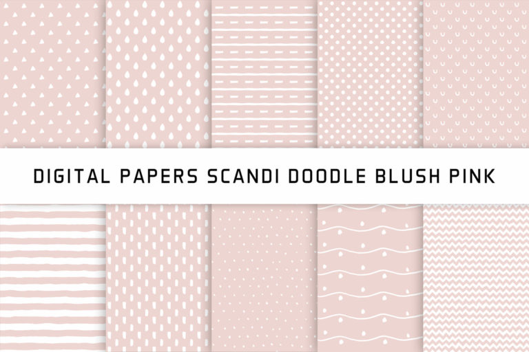 Preview image of Scandi Doodle Blush Pink Digital Papers