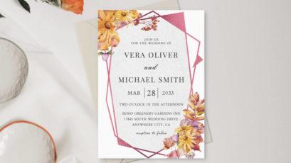 Sunflowers Burgundy Roses Wedding Invitation