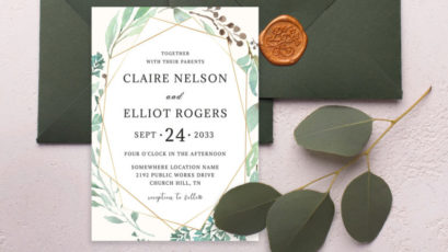 Watercolor Dusty Greenery Floral Invitation Template