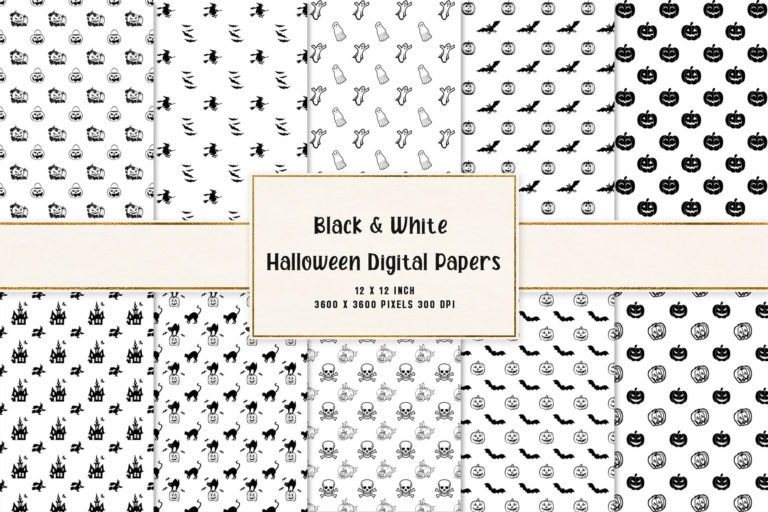 Preview image of Black & White Halloween Digital Papers