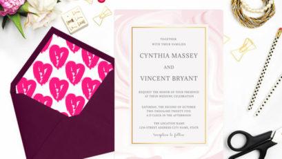Elegant Pink Marble Wedding Invitation Template