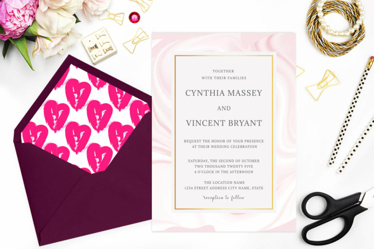 Preview image of Elegant Pink Marble Wedding Invitation Template