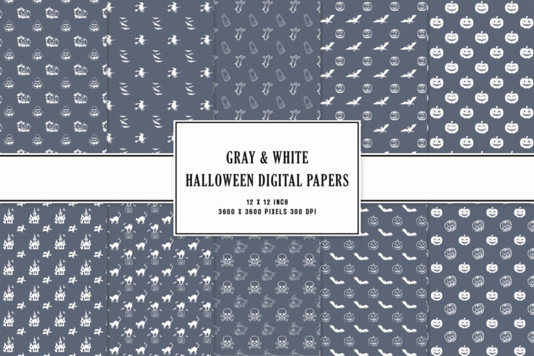 Preview image of Gray & White Halloween Digital Papers