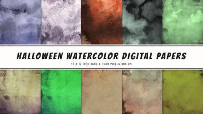 Halloween Watercolor Digital Papers
