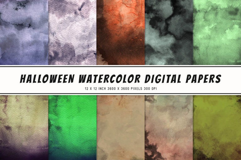 Preview image of Halloween Watercolor Digital Papers