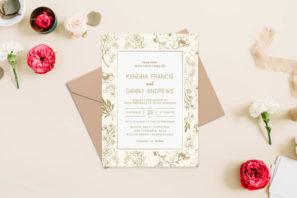 Modern Gold Floral Wedding Invitation Template