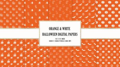 Orange & White Halloween Digital Papers