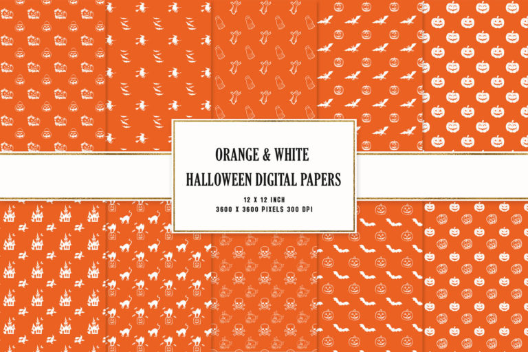 Preview image of Orange & White Halloween Digital Papers