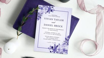 Purple Floral Elegant Watercolor Wedding Invitation