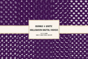 Purple & White Halloween Digital Papers