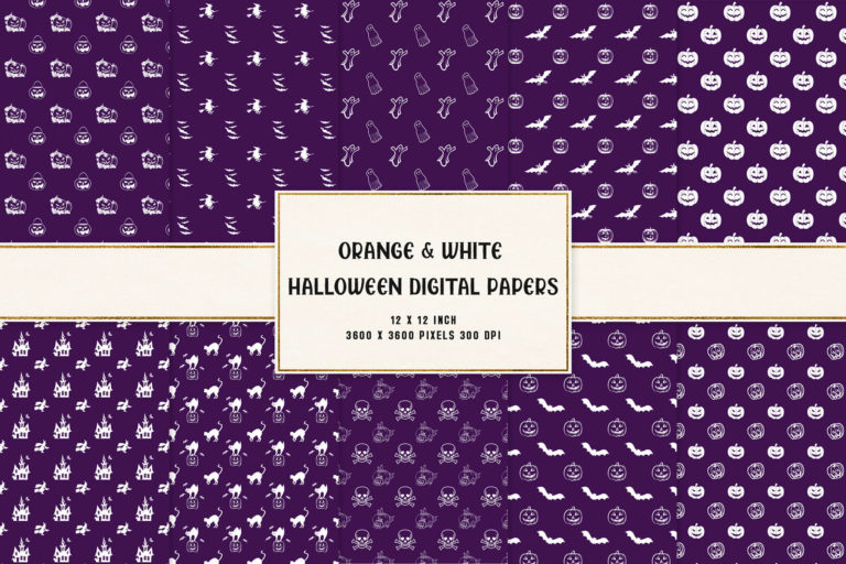 Preview image of Purple & White Halloween Digital Papers
