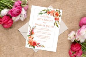 Rustic Roses Wedding Invitations Template