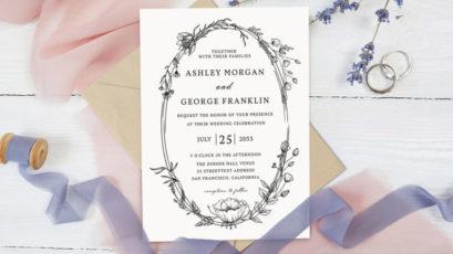 Whimsical Wreath Wedding Invitation Template