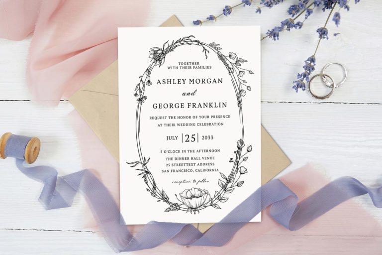 Preview image of Whimsical Wreath Wedding Invitation Template