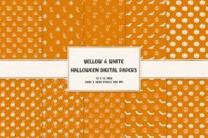 Yellow & White Halloween Digital Papers