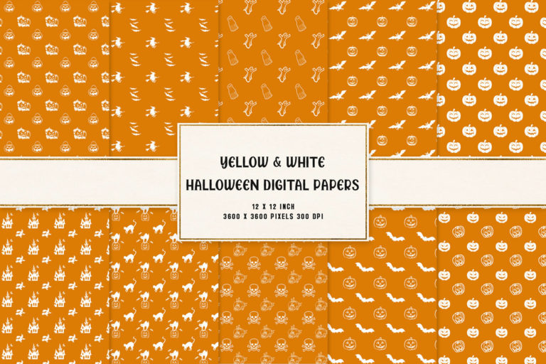 Preview image of Yellow & White Halloween Digital Papers