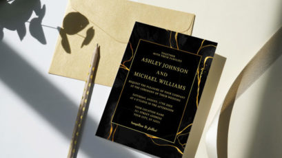 Black And Gold Marble Wedding Invitation Template