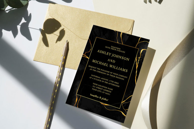 Preview image of Black And Gold Marble Wedding Invitation Template