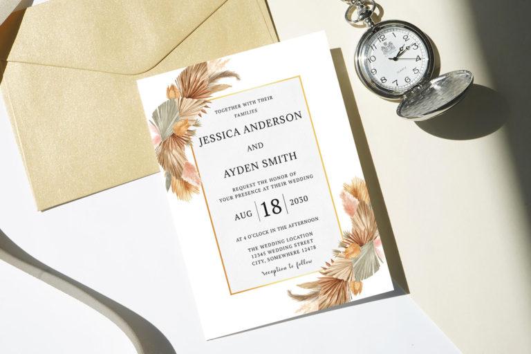Preview image of Boho Pampas Grass Wedding Invitation