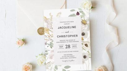 Bridal Shower Green Foliage Watercolor Invitation