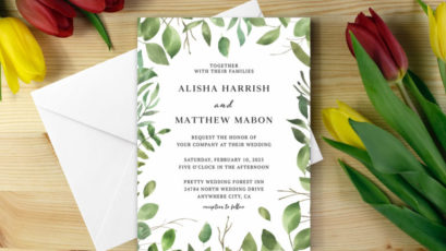 Green Foliage Wedding Invitation Template
