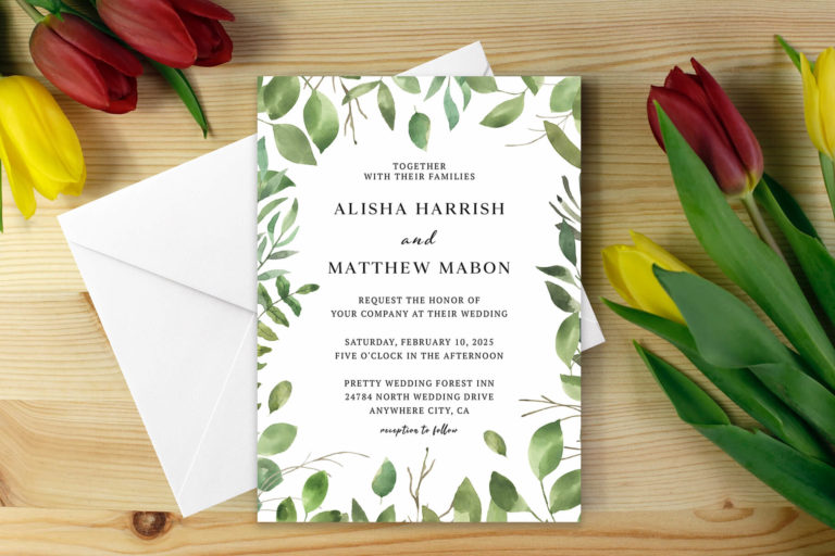 Preview image of Green Foliage Wedding Invitation Template