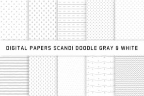 Scandi Doodle Gray & White Digital Papers