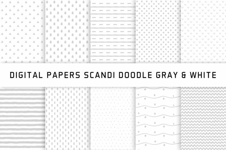 Preview image of Scandi Doodle Gray & White Digital Papers
