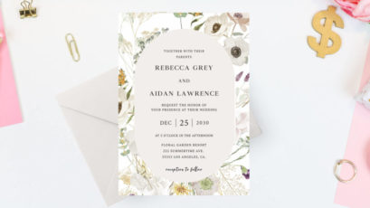 Spring Peony Casual Wedding Invitation