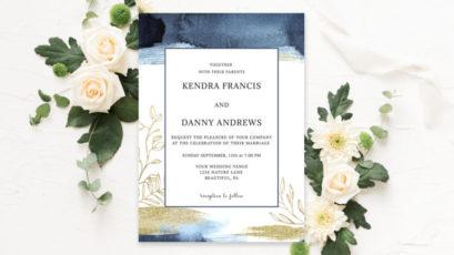Watercolor Blue & Gold Wedding Invitation