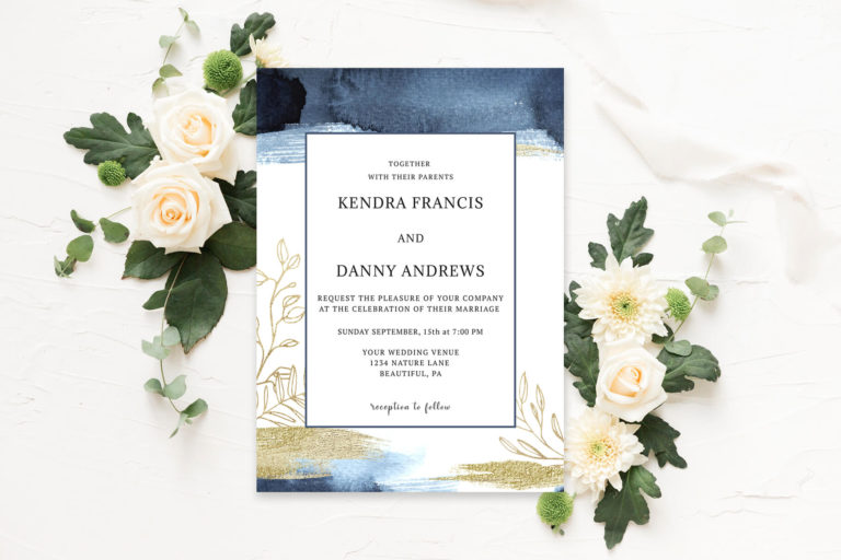 Preview image of Watercolor Blue & Gold Wedding Invitation